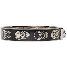 Alexander Mcqueen Black and Silver Cut-Out Enamel Bracelet ($225) ❤ liked on Polyvore