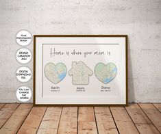 Mother's Day Gift for Mom Gift for Mum Home is where | Etsy Gifts For Mum, Mother Gifts, Happy Father, Happy Mothers Day, Personalized Fathers Day Gifts, Heart Map, Custom Map, Kids Prints, Art Prints