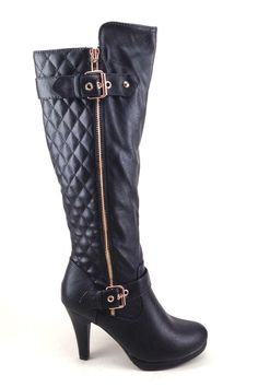 Black Ladies Boots with Quilt and Buckle Design