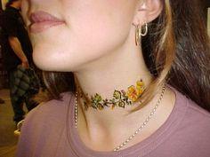 flower garland female neck tattoo #neck #tattoo #women #female