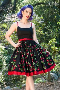 Sixties Style Swing Day Dress in Black Cherry Cotton Sateen | Pinup Girl Clothing
