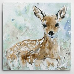 Wexford Home 'Fawn' by Carol Robinson Painting Print on Wrapped Canvas Size: H x W x D Deer Pictures, Pictures To Paint, Canvas Artwork, Canvas Prints, Canvas Canvas, Canvas Size, Canvas Fabric, Spring Painting, Spring Art