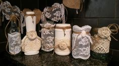 Handmade decorated lace & twine bottles & jars & bunting