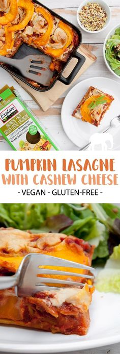 Vegan Pumpkin Lasagna with Cashew Cheese Made with Green Lentils Lasagne Leaf . Delicious Vegan Recipes, Dairy Free Recipes, Pumpkin Recipes, Raw Food Recipes, Vegetarian Recipes, Pasta Recipes, Vegan Pumpkin, Healthy Pumpkin, Pumpkin Lasagna