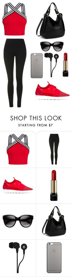 """Untitled #196"" by hanin-elsamad ❤ liked on Polyvore featuring Topshop, Balenciaga, Lancôme, Skullcandy and Native Union"