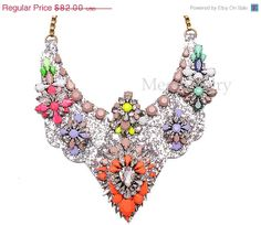 Shourouk Inspired Shiny Luxury Necklace Choker Statement Layer Jewelry, Bubble Neon Crystal Necklace, Charm Fashion Jewelry (N0911)