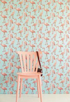 #interior #flamingo #wallpaper #pink #mint