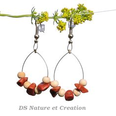 Tribal earrings earthy organic jewelry red by DSNatureetCreation www.etsy.com/listing/233229589/tribal-earrings-earthy-organic-jewelry?ref=shop_home_active_2