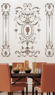 Wall stencil Versailles Grand Panel LG by CuttingEdgeStencils