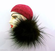 1950s 60s Hand Painted Resin Suede Fur Brooch Head Pins, Brooch Pin, Brooches, Antique Jewelry, Vintage Antiques, 1950s, Winter Hats, Resin, Fur