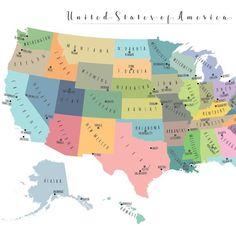 Printable Map of The USA - Mr Printables,#printable ...