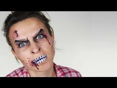 World War Z / Zombie Makeup Tutorial Halloween Face Paint Scary, Halloween Zombie Makeup, Scary Face Paint, Zombie Face Paint, Facepaint Halloween, Halloween Party, Halloween Costumes, Princess Face Painting, Face Painting For Boys