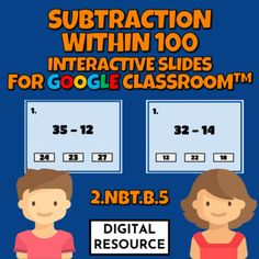 Interactive Google Slides math game covering subtraction within 100CCSS 2.NBT.B.5 Distance learning2 challenges, 10 multiple choice self-checking problems eachDigital product - no prep!This is a digital product for Google Classroom use.Please purchase this product only if you know how to use it.The ... Multiple Choice, Google Classroom, Math Games, Elementary Schools, Distance, Self, Challenges, Student, Learning