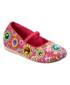 5da0debb60b60 Fairy Dreams Hot Pink Beaded Sequin Flat. Glam GirlLittle PrincessGirls  ShoesHot ...