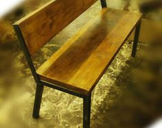 Vintage Industrial Wooden Bench with Back