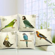5 unids/set alta calidad ropa de cremallera Invisible loro Lovely Birds sofá decoración divertido cojín / almohada cubierta 45 * 45 cm(China (Mainland))