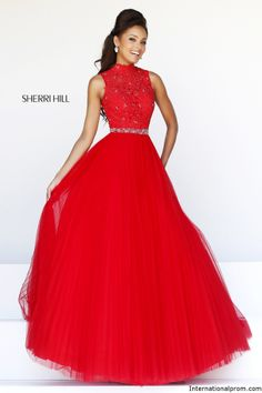 High Neckline lace ball gown Sherri Hill 21334 #ipaprom