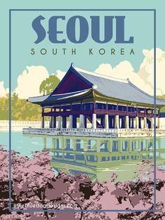 Copyright 2020 Little Blue Dog Designs Vintage Travel Posters, Vintage Postcards, Cities In Korea, Etsy Vintage, Seoul Korea Travel, Aesthetic Art, South Korea, Photo Wall Collage, Destinations