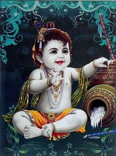 Natkhat Krishna (Reprint On Card Paper - Unframed) Pandey ji Krishna Leela, Krishna Hindu, Krishna Statue, Radha Krishna Pictures, Lord Krishna Images, Hindu Deities, Little Krishna, Baby Krishna, Cute Krishna