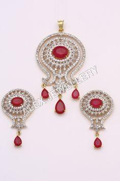 Designer-Red-Stone-Diamond-Pendant-Sets.jpg (500×750)