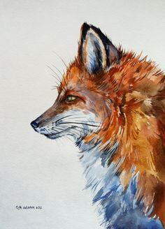 Red Fox Portrait ORIGINAL WATERCOLOR PAINTING by alisiasilverART on Etsy