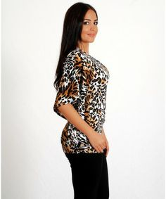 Woman's Stylish Beige Leopard One Shoulder Top - TOPS - CLOTHING
