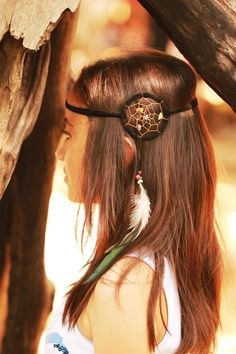 Black dream catcher headband with coloured stones and feathers...available soon from caughtdreams.com