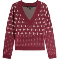 Rag & Bone Isabella Pullover ($240) ❤ liked on Polyvore featuring tops, sweaters, red, long sleeve v neck sweater, ski sweaters, red top, v neck sweater and red sweater
