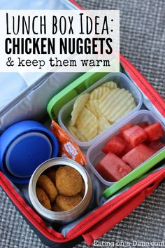 Nuggets - Lunch box idea Baked Chicken Nuggets are a fun lunch idea for kids. My kids love this warm lunch.Baked Chicken Nuggets are a fun lunch idea for kids. My kids love this warm lunch. Back To School Lunch Ideas, Healthy School Lunches, School Lunch Box, Healthy Meals For Kids, Kids Meals, Kids Cold Lunch Ideas, Healthy Recipes, Thermos Lunch Ideas, Bento Box Lunch For Kids