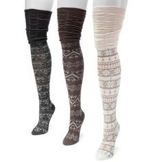 MUK LUKS 3-pk. Women's Microfiber Fairisle Over-the-Knee Socks ($27) ❤ liked on Polyvore featuring intimates, hosiery, socks, white oth, over knee socks, over the knee hosiery, over the knee socks, muk luks socks and white hosiery