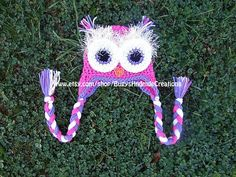 Miss B would rock this!!!!  Crochet Owl Hat with Earflaps Pink Purple by BugysHndmdeCreations, $25.00