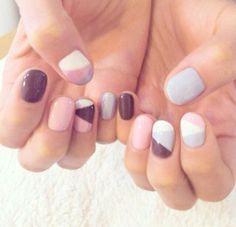 Pink mauve blue white nails