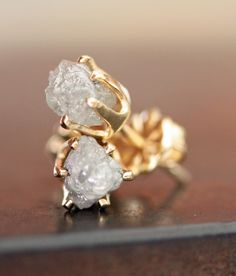 Rough Diamond Stud Earrings in Gold. $112.00, via Etsy.