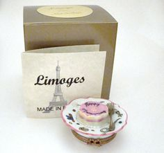 Limoges Box - Happy Anniversary Cake on Pretty Plate