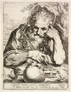 Saint Jerome – Objects - RISD MUSEUM Saint Jerome Agostino Carracci, engraver (printmaker) Italian, 1557-1602 After Francesco Vanni, designer Italian, 1563-1610 Saint Jerome, ca. 1595 Engraving Plate: 19.7 x 14.9 cm (7 3/4 x 5 7/8 inches) Museum Works of Art Fund 57.002