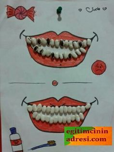 When you are teaching kids about all the important things in life one of the important things to teach them is good dental care. Kindergarten Crafts, Preschool Activities, Teaching Kids, Kids Learning, Kids Crafts, Seed Craft, Vegetable Crafts, Dental Health, Dental Hygiene