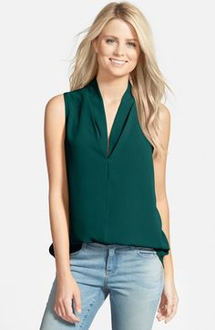Pleione Layered V-Neck Sleeveless Blouse available at #Nordstrom