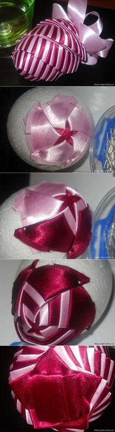 Елочные игрушки из атласных лент в технике АРТИШОК