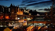 Sunset over Waverley station and North Bridge in Edinburgh. Photo by Colin Myers.
