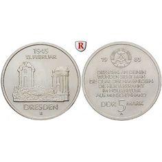 DDR, 5 Mark 1985, Frauenkirche, st, J. 1601: Kupfer-Nickel-5 Mark 1985. Frauenkirche. J. 1601; stempelfrisch 14,00€ #coins