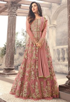 Light Pink Embroidered Net Anarkali Suit features a beautiful net top alongside a santoon bottom and inner. A chiffon dupatta completes the look. Embroidery work is completed with zari, thread, and stone. Indian Wedding Gowns, Pakistani Wedding Outfits, Indian Gowns, Indian Fashion Dresses, Abaya Fashion, Indian Outfits, Party Wear Dresses, Bridal Dresses, Designer Anarkali