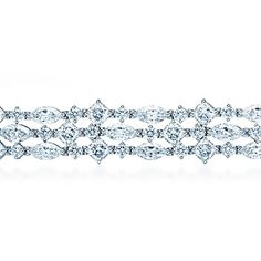 Tiffany & Co. Fringe bracelet of cushion-cut, marquise and round diamonds in platinum.