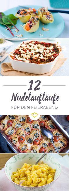 Heute mit Gemüse satt oder lieber würzig mit Hackfleischsauce? Probier sie doch einfach alle! Wir haben 12 köstliche Nudelaufläufe zum Nachmachen für dich.