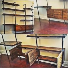 Pipe shelf wall unit with storage cubbies                                                                                                                                                      More