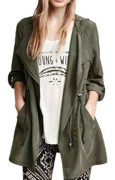 Trench  with a Hood - Diagonal front Zip.