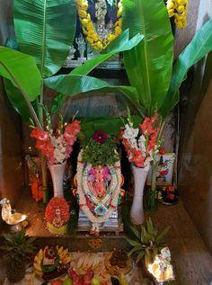 Festival Decorations, Wedding Decorations, Ganpati Decoration At Home, Puja Room, Indian Gods, Rangoli Designs, Art Drawings Sketches, Ganesha, Idol