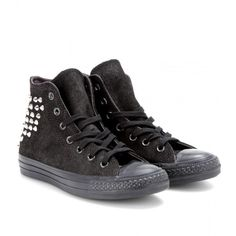 Converse Chuck Taylor All Star Leather High-Top Sneakers (130 AUD) ❤ liked on Polyvore featuring shoes, sneakers, converse, sapatos, phantom, black sneakers, black hi top sneakers, black high top shoes, converse shoes and high-top sneakers