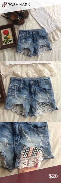 High wasted crocheted shorts Love these but they don't fit anymore post baby 👎🏼😩 Shorts Jean Shorts