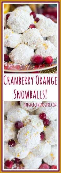 Classic snowball cookies, but with dried cranberries and orange zest for a fun makeover. These Cranberry Orange Snowballs have Christmas and holiday celebrations written all over them. Cranberry Cookies, Cranberry Recipes, Holiday Cookies, Holiday Recipes, Holiday Treats, Christmas Recipes, Cookie Desserts, Easy Desserts, Cookie Recipes