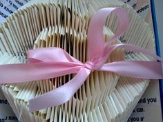 Upcycled Loving Memories Folded Book Heart Sculpture with Ribbon and Lyrical Heart Embellishments Hot Pink Weddings, Spring Weddings, Valentine Day Gifts, Holiday Gifts, Valentines, Wedding Strawberries, Origami Wedding, Japanese Origami, Book Folding